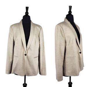 J Crew Tan Parke One Button Career Blazer Jacket